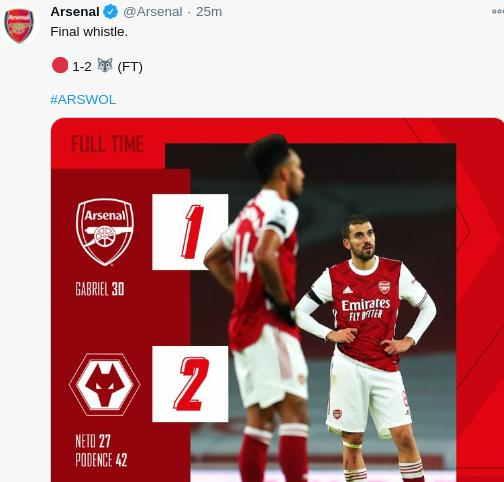 Arsenal kalah 1-2 dari Wolves