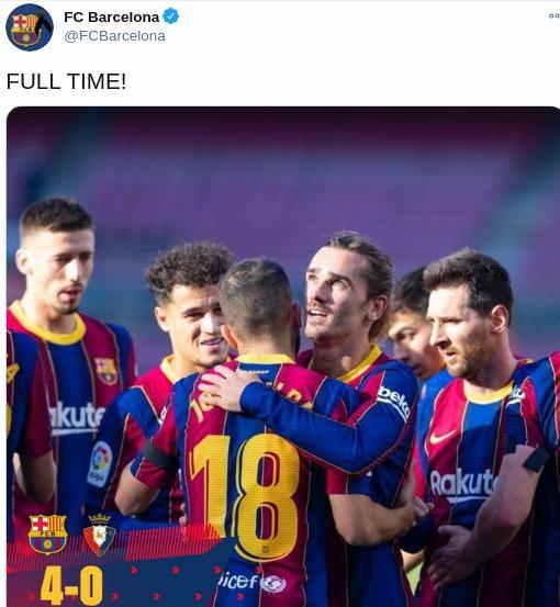 Hasil Barcelona vs Osasuna Skor Akhir 4-0