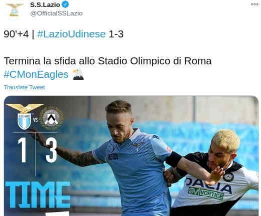 Hasil Lazio vs Udinese Skor Akhir 1-3