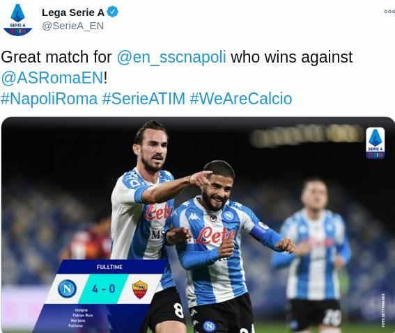 Hasil Napoli vs AS Roma