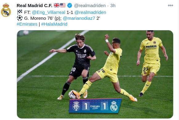 Hasil Villarreal vs real madrid