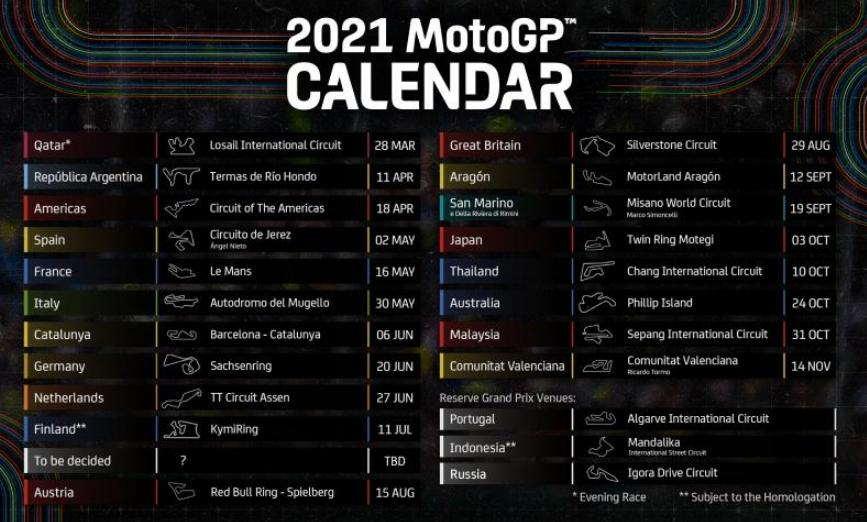 Jadwal Sementara MotoGP 2021