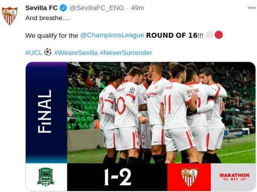 hasil krasnodar vs Sevilla Tadi Malam