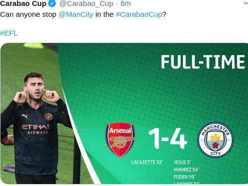 Hasil Arsenal vs Manchester City EFL Cup