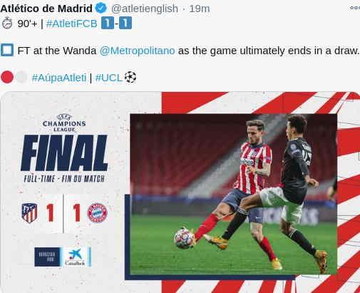 Hasil Atletico Madrid vs Bayern Munchen