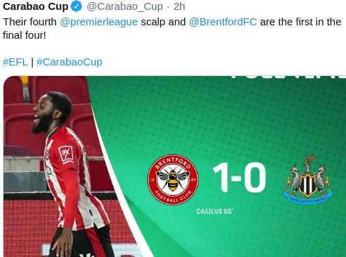 Hasil Brentford vs Newcastle Utd