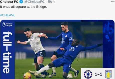 Hasil Chelsea vs Aston Villa Skor Akhir 1-1