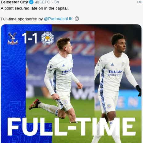 Hasil Crystal Palace vs Leicester City Imbang 1-1