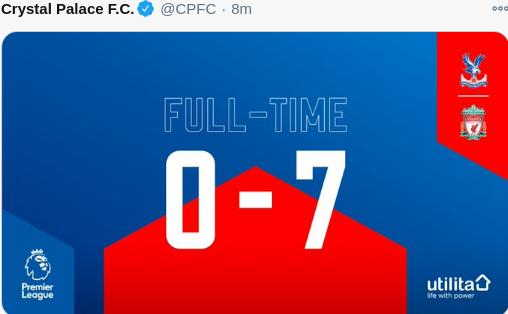Hasil Crystal Palace vs Liverpool