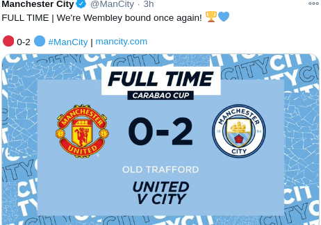 Hasil Derby Manchester Carabao Cup