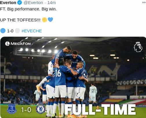 Hasil Everton vs Chelsea sekor 1-0