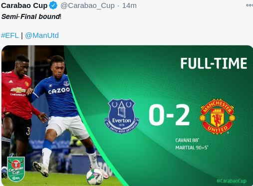Hasil Everton vs MU Carabao Cup