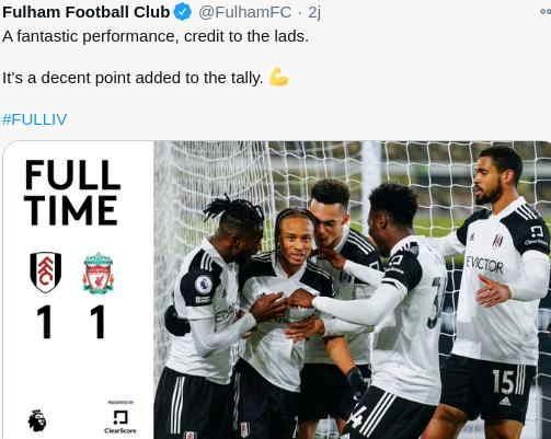 Hasil Fulham vs Liverpool Tadi malam