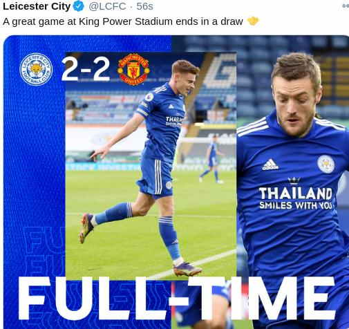 Hasil Leicester vs MU