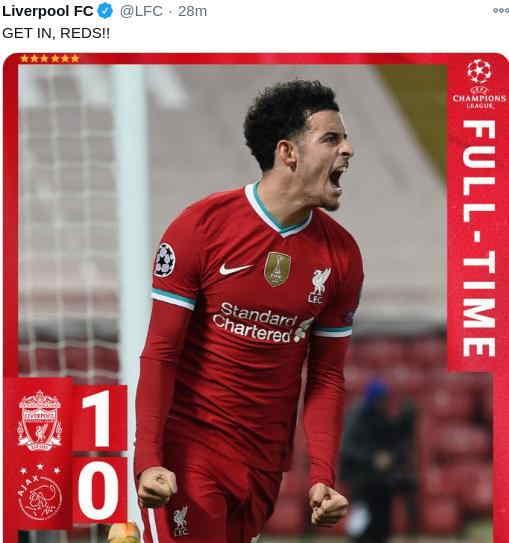 Hasil Liverpool 1-0 Ajax