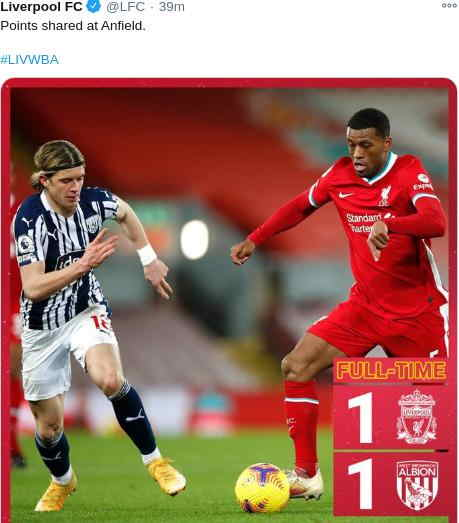 Hasil Liverpool vs West Bromwich