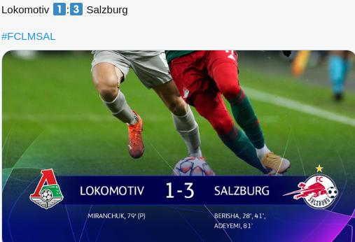Hasil Lokomotiv Moskow vs Salzburg