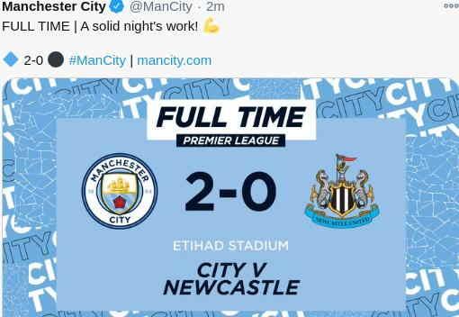 Hasil Manchester City vs Newcastle Skor Akhir 2-0