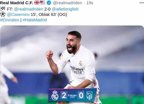 Hasil Real madrid vs Atletico Madrid Skor Akhir 2-0