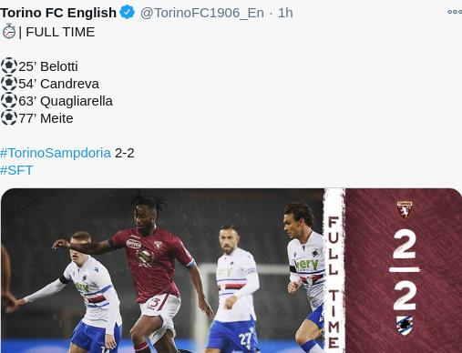 Torino 2-2 Sampdoria