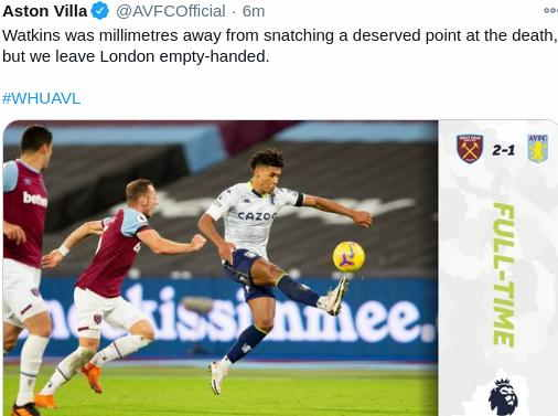 West Ham 2-1 Aston Villa