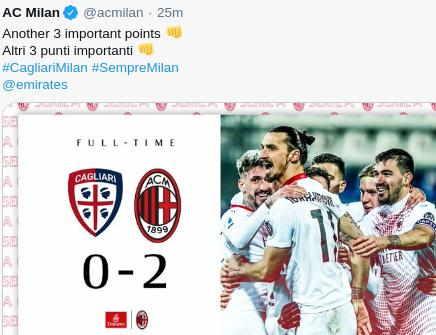 Skor Akhir Cagliari vs AC Milan