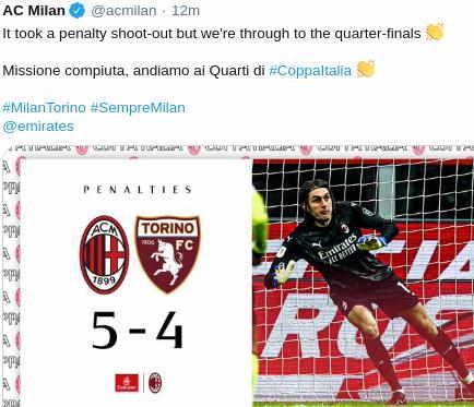 Hasil AC Milan vs Torino