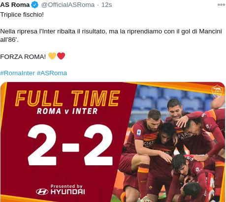 Hasil AS Roma vs Inter Milan Skor 2-2