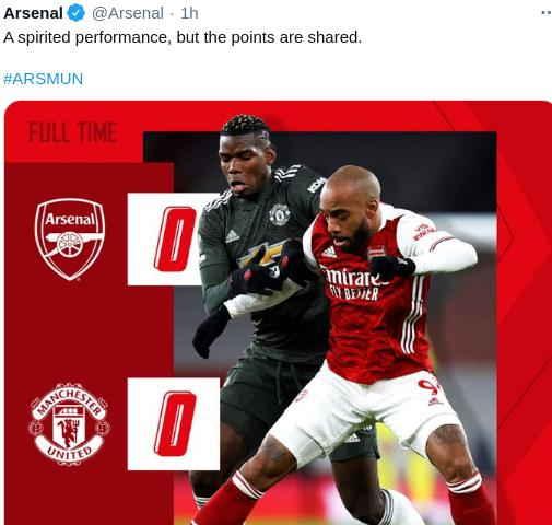 Hasil Arsenal vs Manchester United