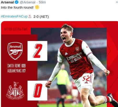 Hasil Arsenal vs Newcastle United FA Cup