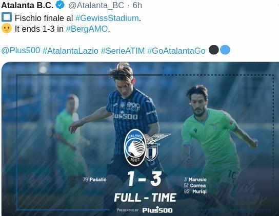 Hasil Atalanta vs Lazio