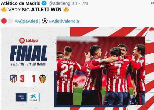 Hasil Atletico Madrid vs Valencia skor 3-1