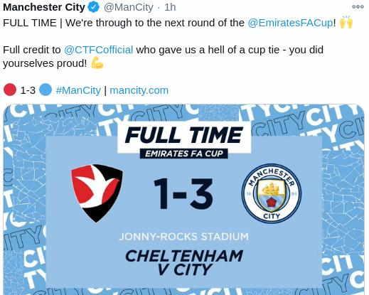Hasil Cheltenham vs Manchester City