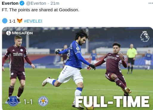 Hasil Everton vs Leicester City