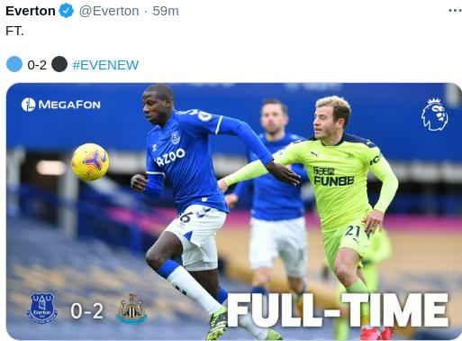 Hasil Everton vs Newcastle