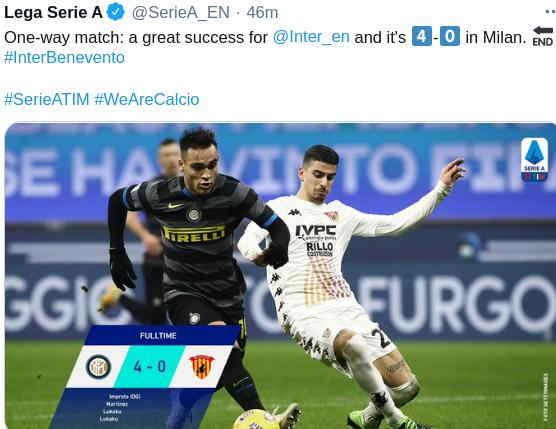 Hasil Inter Milan vs Benevento