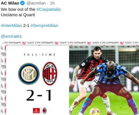 Hasil Inter vs AC Milan Coppa Italia