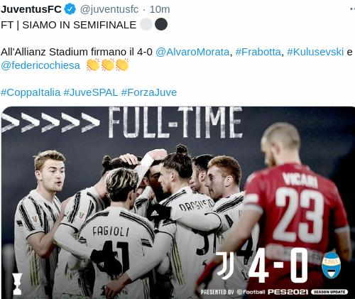 Hasil Juventus vs SPAL Skor akhir 4-0