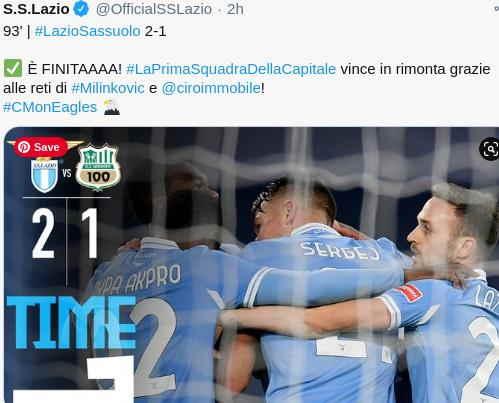 Hasil Lazio vs Sassuolo Pekan 19