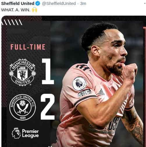 Hasil MU vs Sheffield United skor 1-2