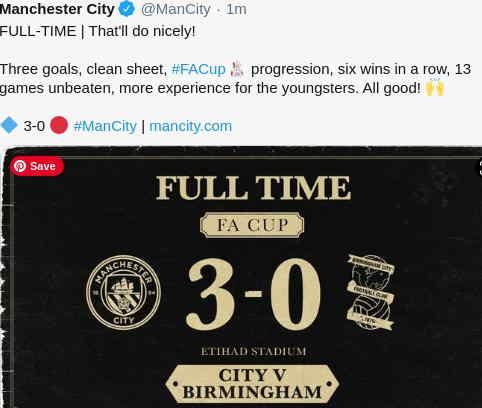 Hasil Manchester City vs Brimingham City