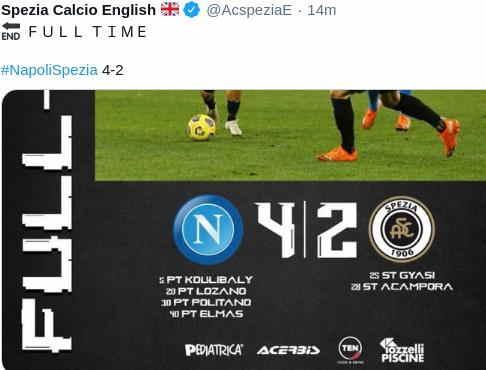 Hasil Napoli vs Spezia Skor Akhir 4-2