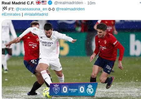 Hasil Osasuna vs Real Madrid Skor Akhir 0-0