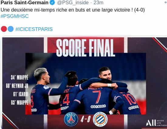 Hasil PSG vs Montpellier Skor 4-0