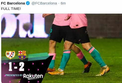 Hasil Rayo Vallecano vs Barcelona 1-2