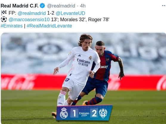 Hasil Real Madrid vs Levante