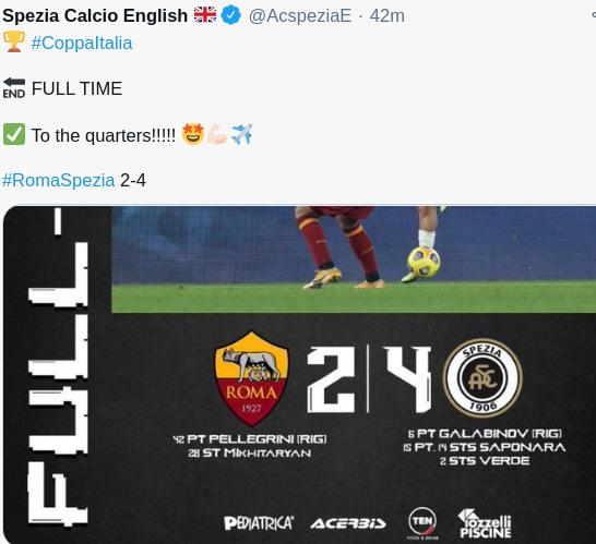 Hasil Roma vs Spezia