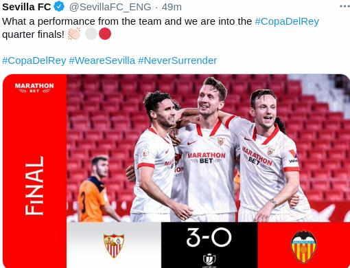 Hasil Sevilla vs Valencia Copa Del rey