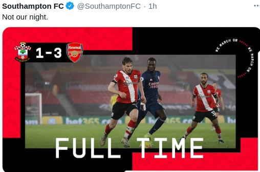 Hasil Southampton vs Arsenal Pekan 20
