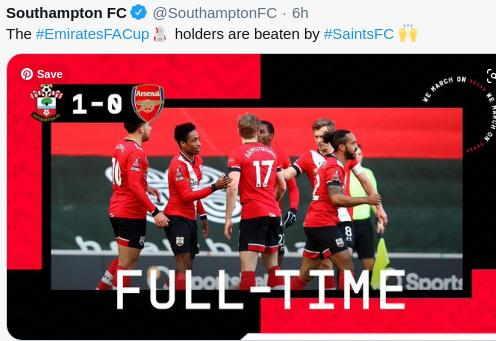 Hasil Southampton vs Arsenal